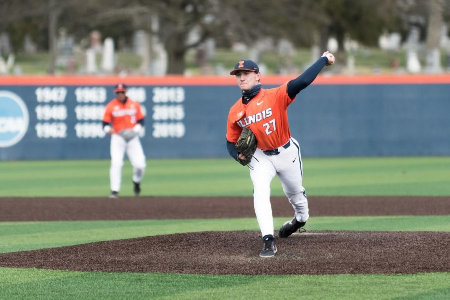 Sophomore Cole Kirschsieper pitched during a game against Northwestern on March 27. The Illini baseball team will head to West Lafayette, Indiana for a  three-game series against Purdue this weekend.