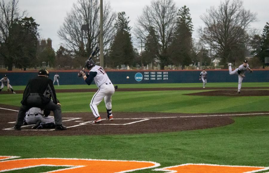 Sophomore+Justin+Janas+hits+the+baseball+during+the+Illinois+game+against+Northwestern+on+March+26.+Janas+used+the+offseason+to+become+one+of+the+top+hitters+on+the+team.