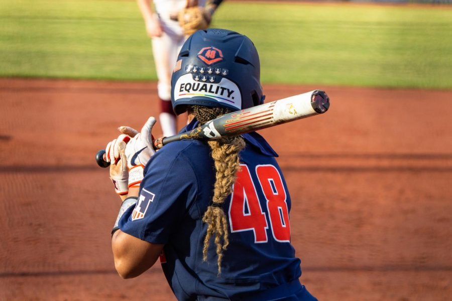 Redshirt freshman Jaelyn Vickery prepares to bat against a pitcher from Minnesota on March 27.