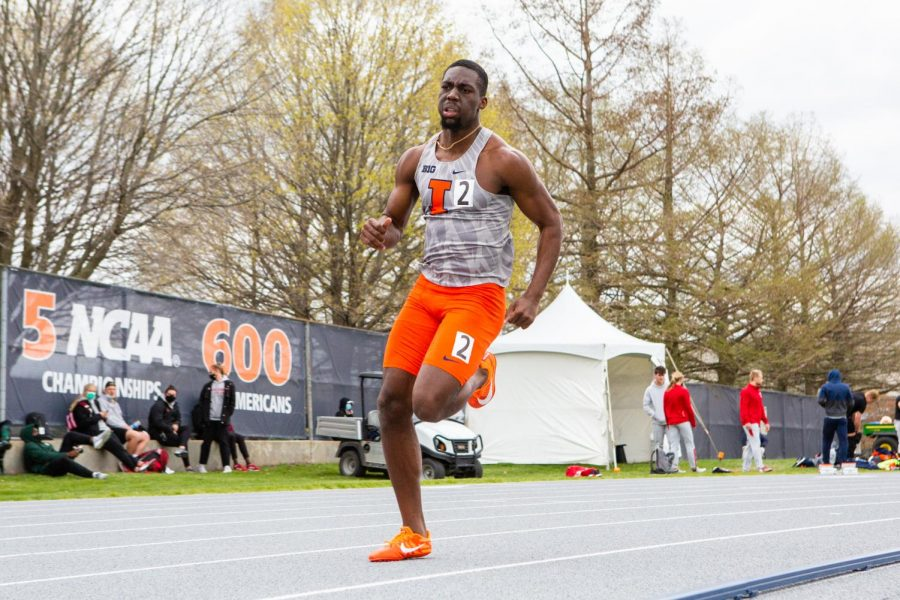 Redshirt sophomore Kashief King competes in a long sprint event at Demirjian Park during the Fighting Illini Big Ten Relays on Friday afternoon. The Illini track and field team got several first-place finishes.