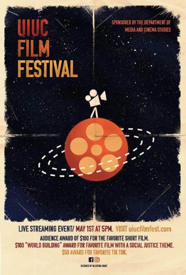 The UIUC Film Festival poster is shown above. The event will stream online May 1st.