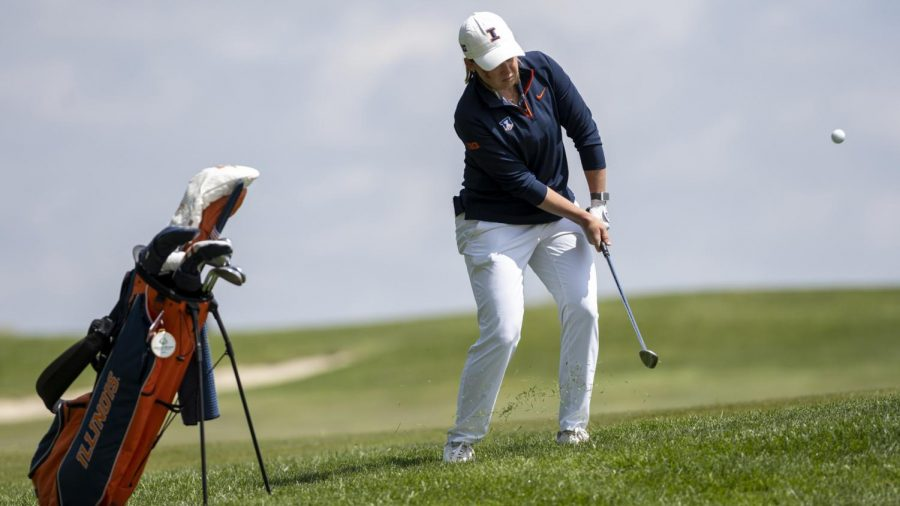 Senior Tristyn Nowlin hits the golf ball as the team places ninth in their Big Ten Championships. Tristyn finished 22nd in the tournament.