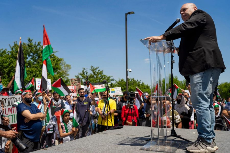 In Dearborn, Amer Zahr gives a speech to protesters during a rally and march in support of Palestine on May 18, 2021. Columnist Eddie Ryan shares his ideas on the Israeli/Palestinian conflict.