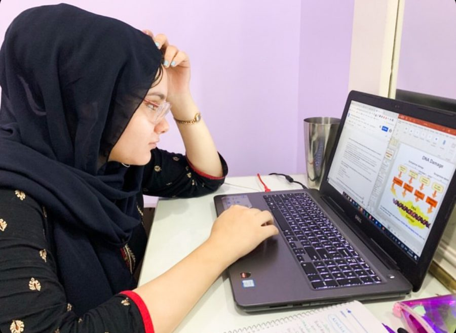 Sarah Kishta looks over lecture slides at 2:15 a.m. from her home in Zagazig, Egypt. International students at the University reflect on their time doing school abroad.