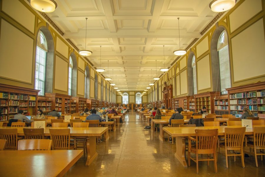 Students study at the main stacks of the Main Library on April 30, 2019. There are many good places to study on campus.