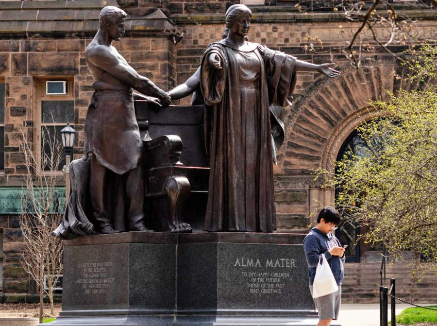 The Universities Alma Mater statue sits at the corner of Wright and Green streets on April 3, 2020. Columnist Noah Nelson argues that Alma Mater holds historic value that is under-appreciated.