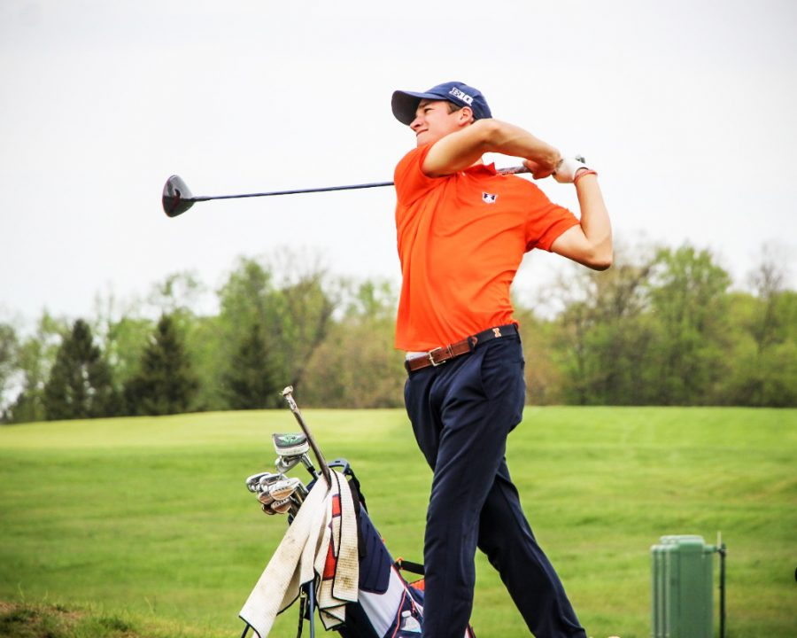 Junior Adrien Dumont De Chassart swings his club at the Big Ten Championship Sunday.
