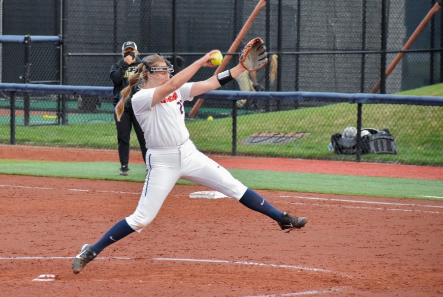 Junior Sydney Sickles pitches the softball to a batter from Purdue on April 16. On March 13 Sickles had a no-hitter.