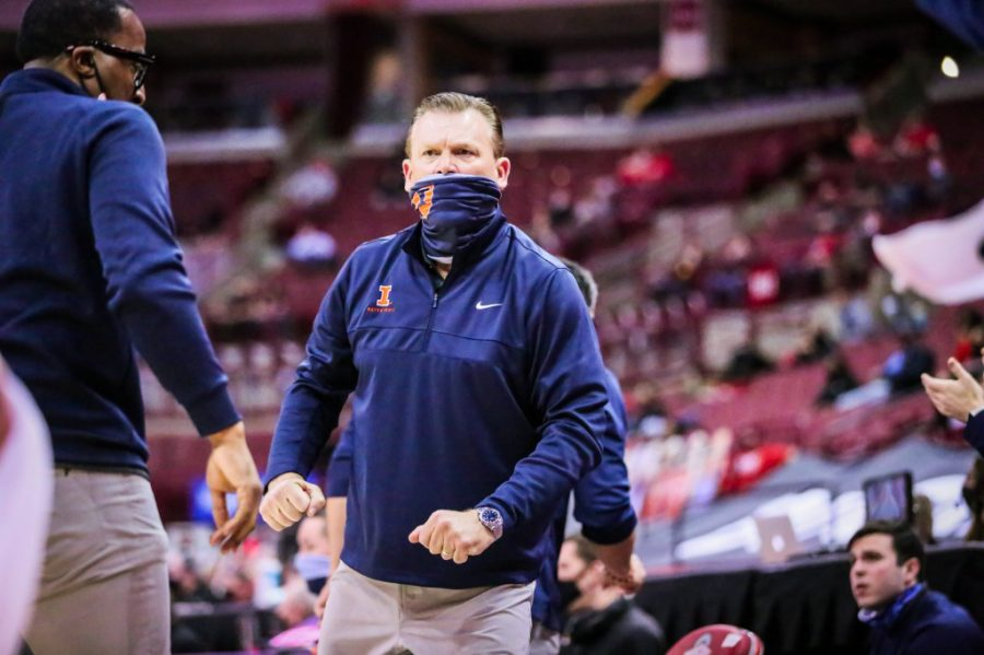 Head Illinois basketball coach Brad Underwood looks intently at his players during the game at Ohio State March 6. Underwood has filled all three assistant coaching spots after Tim Anderson was named an assistant on Friday.