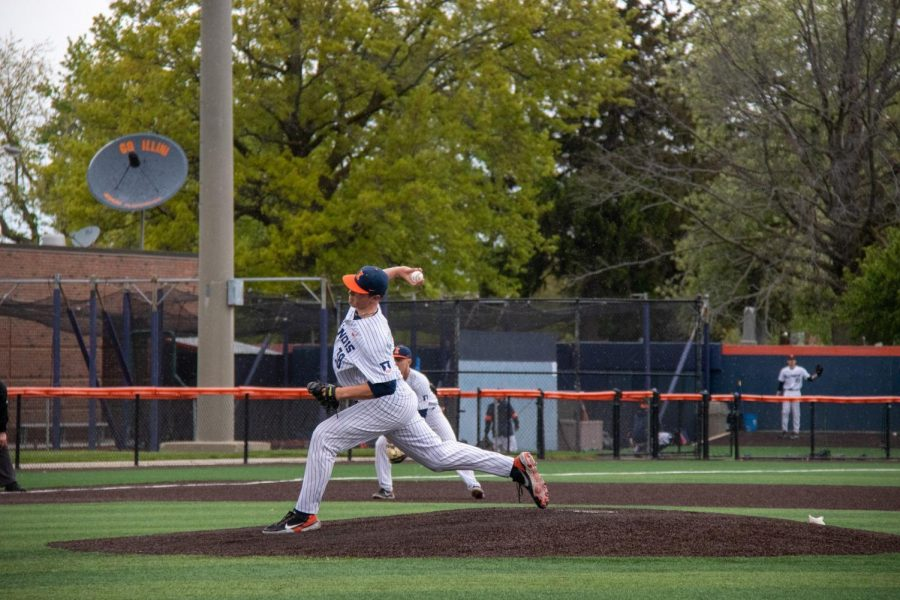 Freshman Clayton Johnson pitches on May 7 against Maryland. The team is set to play against Indiana this Tuesday.