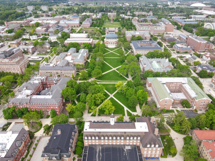 A photograph of the Main Quad is taken from a drone on May 23, 2020. The University of Illinois Board of Trustees approved a renovation project for Altgeld Hall and Illini Hall.