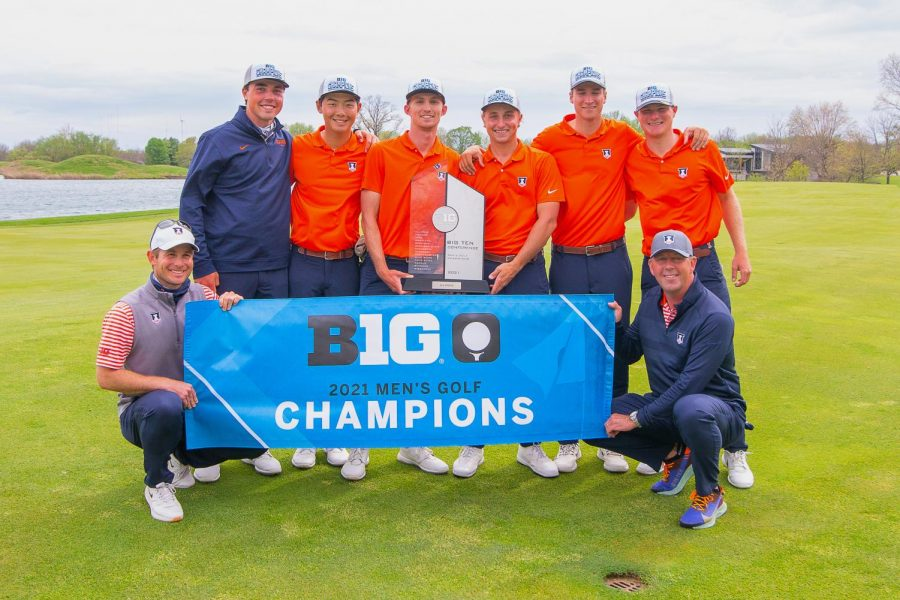 The Illinois men's golf team stands with their trophies after a big win on Sunday. They bring home their sixth consecutive Big Ten title.