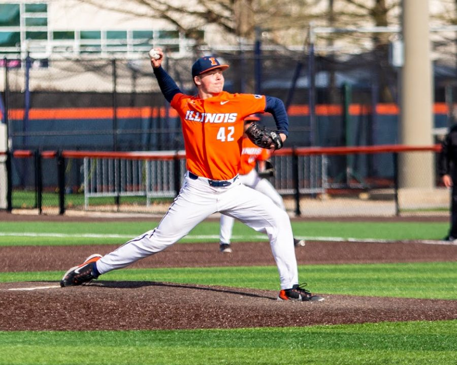 Sophomore+Riley+Gowens+pitches+against+Purdue+on+April+18.+Although+he+was+injured%2C+he+has+healed+and+continues+to+make+progress.+