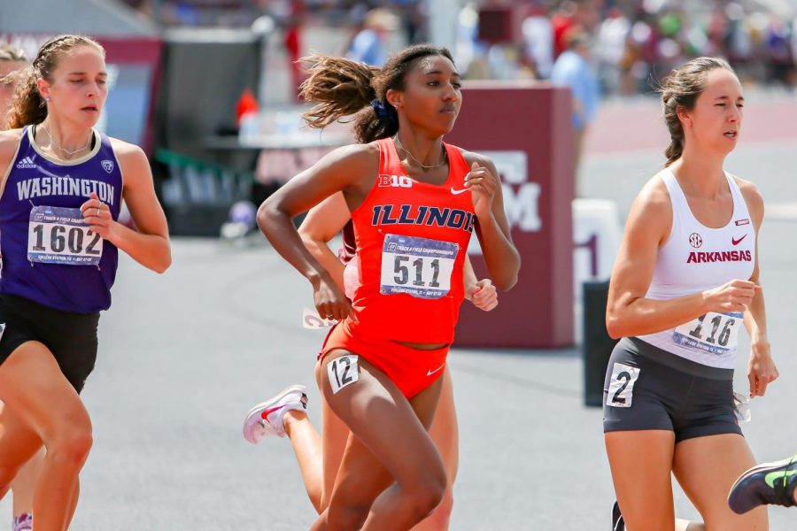 Sophomore Olivia Howell runs in the womens 1500 meter at the NCAA West Prelims in late May at College Station, Texas. Three Illini received All-America honors including Howell, at the NCAA Outdoor Championships this past weekend in Eugene, Oregon.