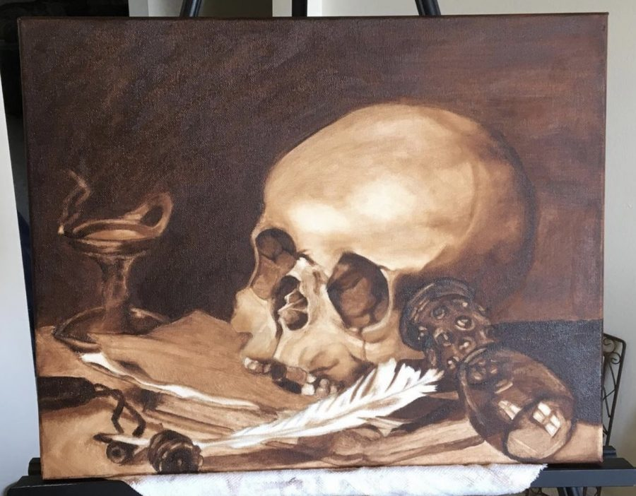 An oil painting of a skull inspired by Pieter Claesz and painted by Farwah Tariq, senior in FAA, is shown above. University students show off their creative abilities on campus.