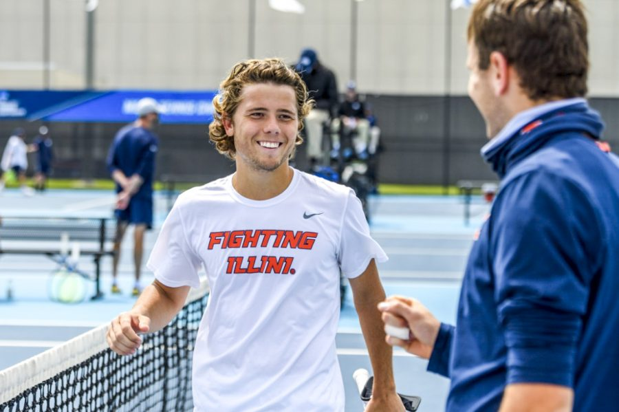 Senior Aleks Kovacevic smiles after winning a match against Notre Dame on Saturday. The 16-seeded Illini will strive to showcase all its talents when they face No. 1 Florida at the NCAA tournament.