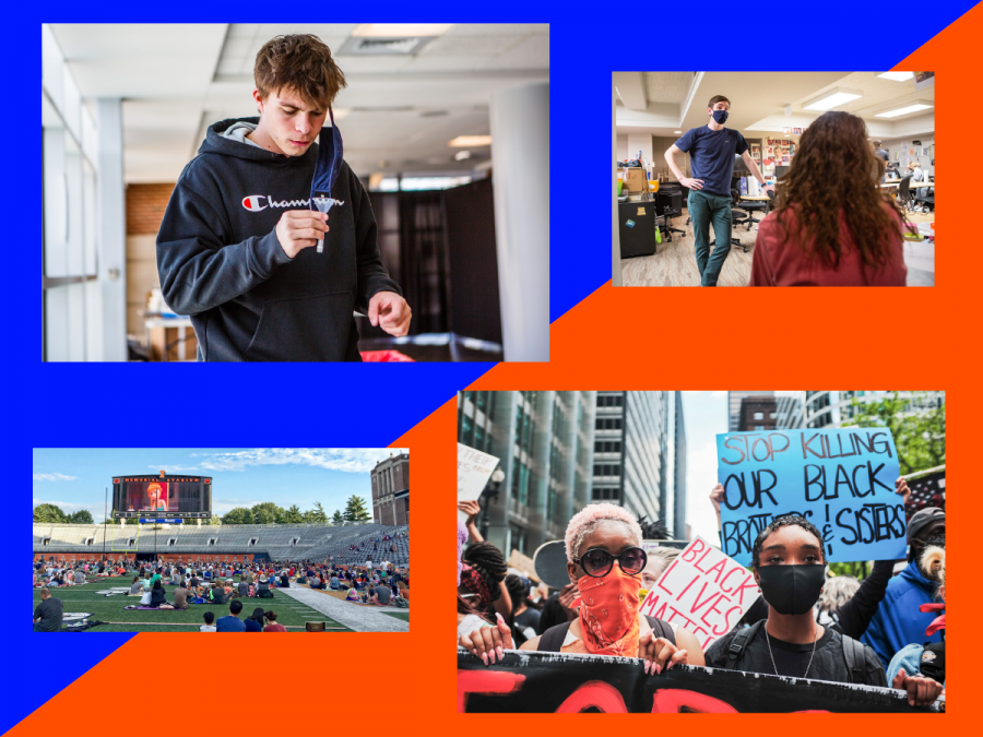 Photo Credits: Cameron Krasucki - Both top photos, Fighting Illini Athletics - Memorial Stadium, Mark Capapas - Chicago Protest