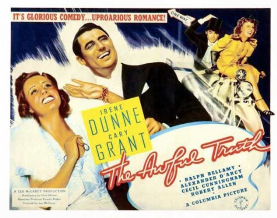Cary Grant and Irene Dunne are pasted on a promotional movie poster for their roles in The Awful Truth. The film was released Oct. 20, 1937.