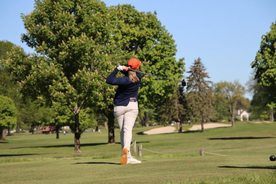 Senior Tristyn Nowlin completes her last first drive at the NCAA Columbus Regional meet May 12. The Illinois women's golf team placed 13th in the tournament.