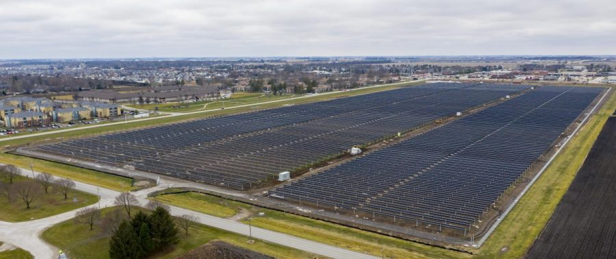 The University of Illinois Solar Farm 2.0 sits at the corner of First Street and Curtis Road on an overcast day. The Solar Farm is in its final stages of completion.