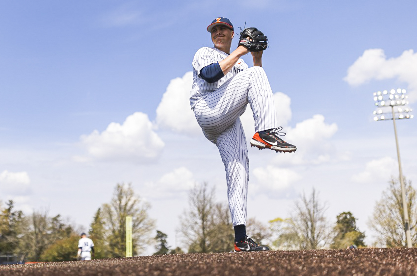 Left-handed pitcher Nathan Lavender pitches against a batter from Michigan State April 17. The Illinois baseball team travel to Iowa City for a three-game series against the Hawkeyes with three weekends left in the regular season.