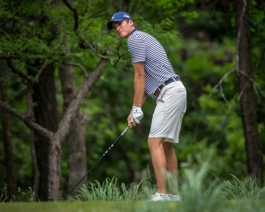 Junior Adrien Dumont de Chassart pauses before a swing at NCAA Regional tournament on May 18. Four Illini golfers earned All-Big Ten honors.