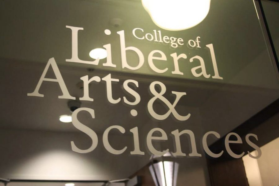 A College of Liberal Arts & Sciences decal is pasted onto the door of their main office Nov. 14, 2018. University students shouldn't rule out liberal arts if they are interested in pursuing it in the future.