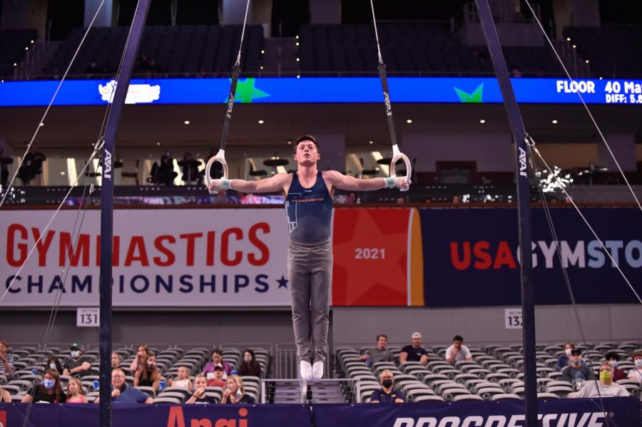 Alex Diab performs on the still rings during the U.S. Gymnastics Championships in Fort Worth, Texas. Diab won the event, earning him a spot on the U.S. national team and a place in the Olympic Team Trials at the end of June.