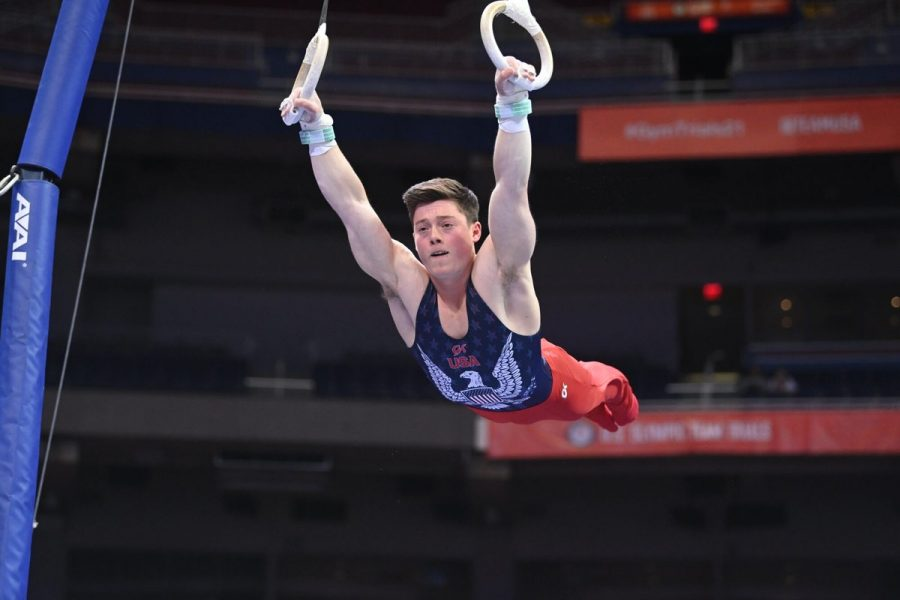 Illinois gymnastics alum warms up on still rings ahead of the U.S. Olympic Team Trials. Diab was named an alternate after missing out on a starting spot as a still rings specialist, though he will still travel to Tokyo.