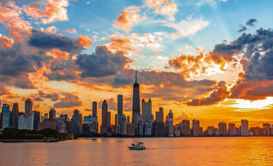 The Chicago skyline is photographed by Jack Gillespie during a colorful sunset. Students Sierra Reed and Gillespie have garnered thousands of followers through TikTok by making the platform into a business opportunity.