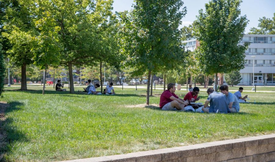 Students bask in the sun on the grounds of Ikenberry Commons on Aug. 21. Many students have chosen to stay on campus over the summer.