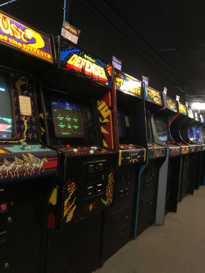 An array of arcade games at Galloping Ghost, an arcade in Brookfield, Illinois. The arcade is the largest in the country.