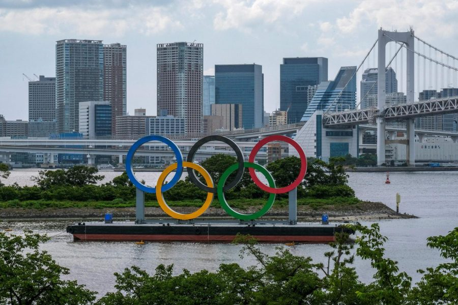 The Olympic rings are seen at the Odaiba waterfront in Tokyo on June 3. This week