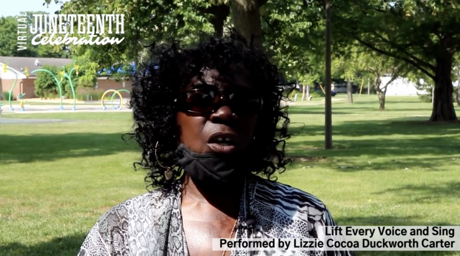 Lizzie Cocoa Duckworth Carter sings Lift Every Voice and Sing to start off the Juneteenth celebration at West Side Park in Champaign on Saturday. The Champaign-Urbana community came together in-person and virtually to commemorate the date the last enslaved African Americans in the United States were notified about their freedom.