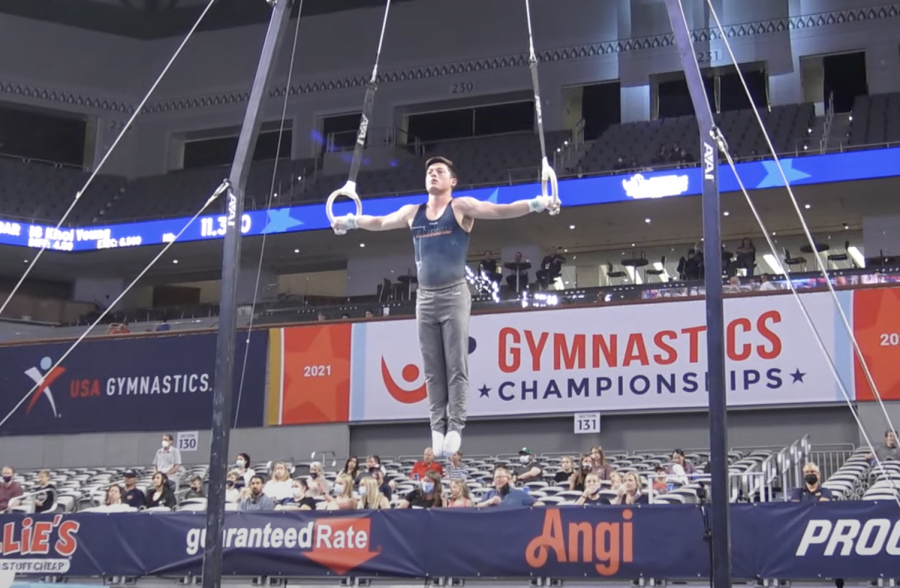 Illinois alum Alex Diab performs on the still rings at the 2021 U.S. Gymnastics Championships on June 3. Diab will compete for a spot on the Olympic team on Thursday.