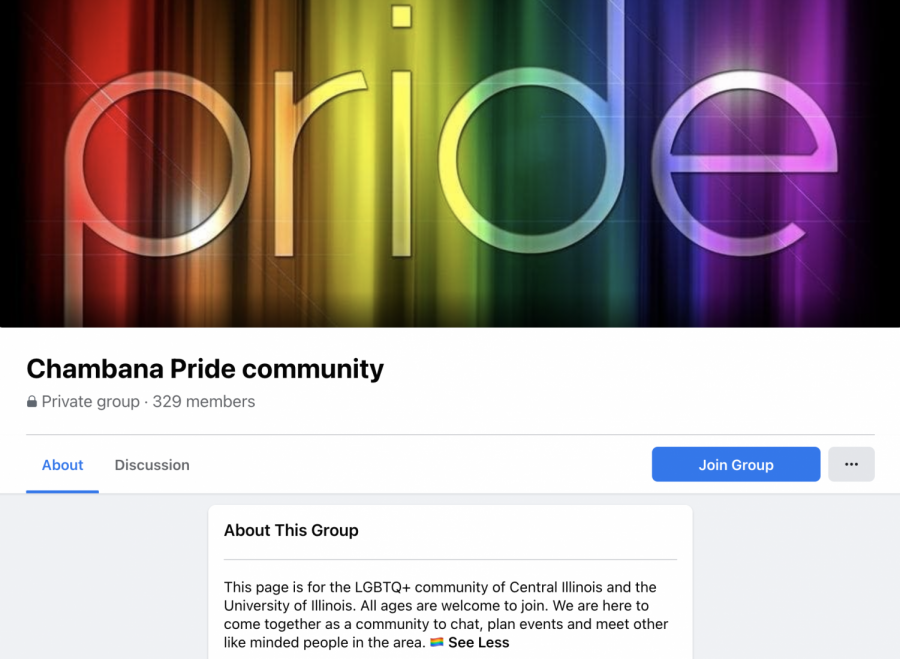 The landing page of the Chambana Pride community facebook page is shown above. The lack in UI pride events prompted students to organize themselves.