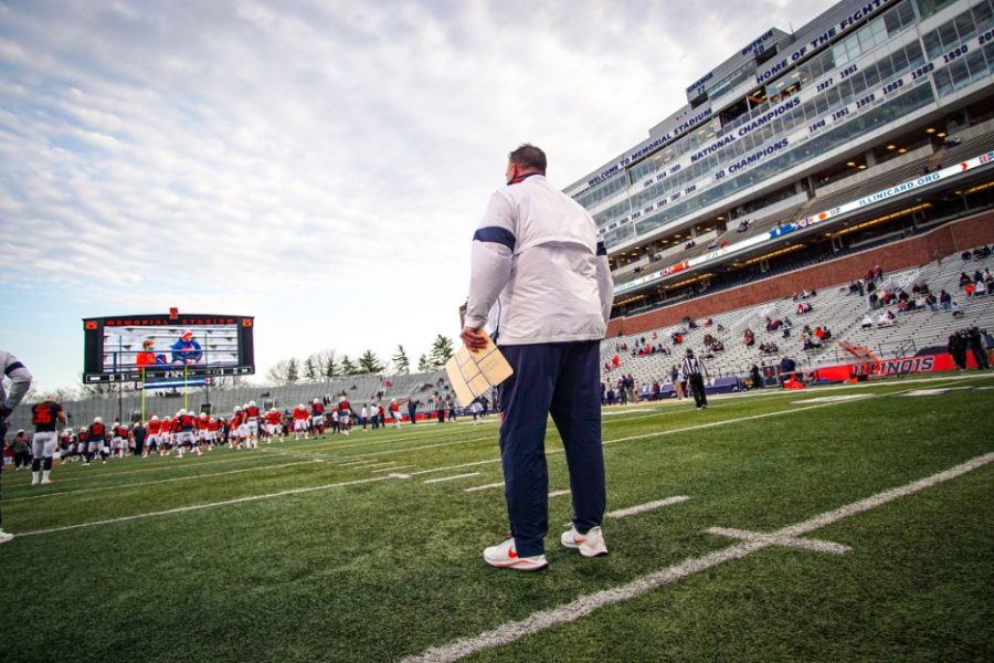 Head football coach Bret Bielema observes his team during the Orange and Blue Spring Game April 19. Bielema and Lovie Smith recruited heavily from Florida which indicates Illinois approach for the upcoming season.