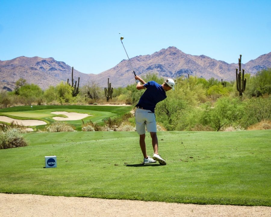 Fifth-year senior Michael Feagles hits the ball in the third round of play at the NCAA Championship in Scottsdale, Arizona. Illinois fell to Oklahoma in match play quarterfinals on Tuesday.