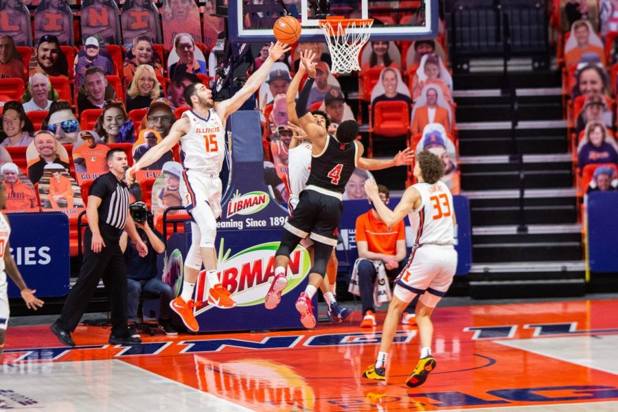 Former Illini basketball player Giorgi Bezhanishvili tries to block a shot being made by Nebraska on Feb. 25. Giorgi Bezhanishvili was invited to play for the NBA Denver Nuggets this upcoming season.