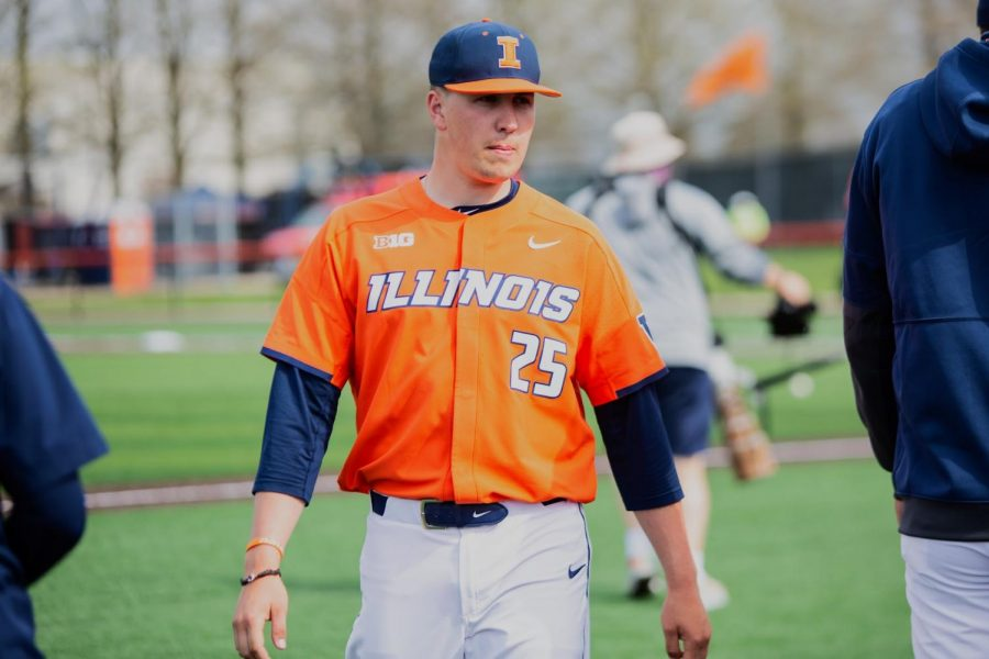 Former Illini baseball player Nathan Lavender walks off the field after pitching three outs on April 18 against Purdue. Nathan Lavender will now be playing in the MLB with the New York Mets.
