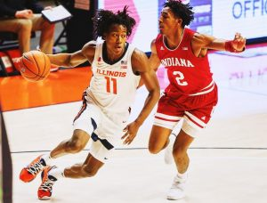 Guard Ayo Dosunmu drives to the basket against Indiana at State Farm Center on Dec. 26. Dosunmu was selected in the 2021 NBA Draft, becoming the first Illini since 2012 to achieve the feat.
