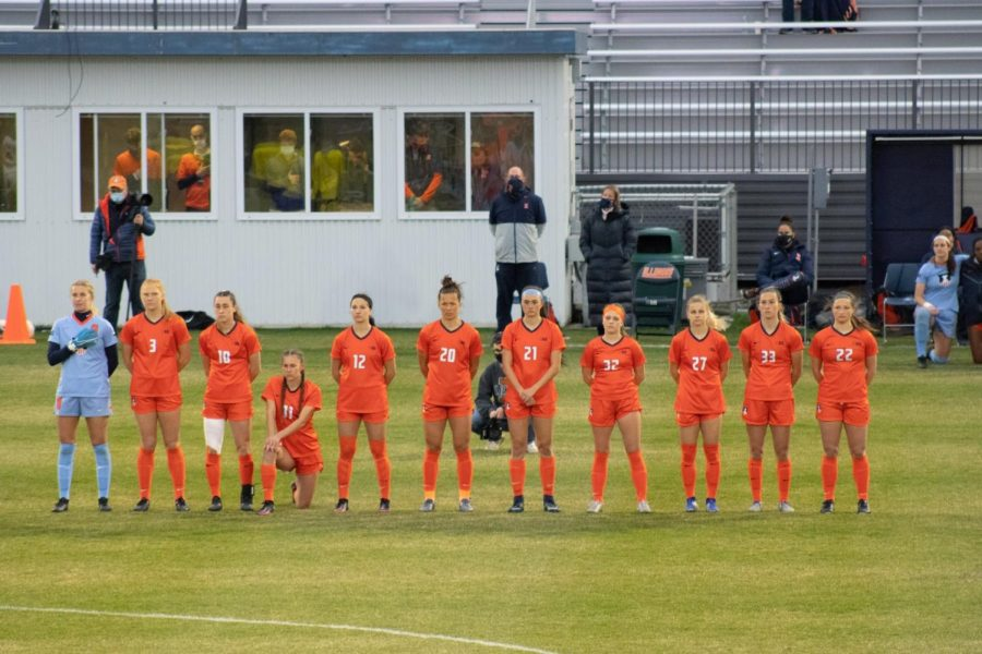 The Illinois starting line-up prepares to face Iowa April 7. Although the pandemic is still around, there will be more opportunities to see the women