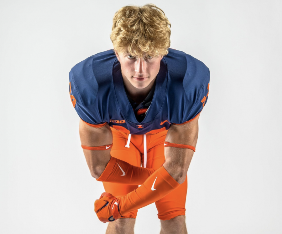 Aidan Laughery poses for a photo in Illinois gear. Laughery recently committed to the Illinois football family for the upcoming fall season.