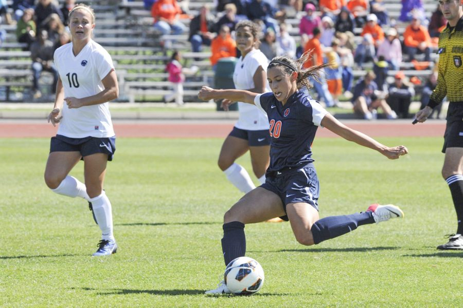 Vanessa DiBernardo begins to kick a soccer ball during the game against Penn State Sept. 23, 2012. DiBernardo reflects on her time as an Illinois and Chicago Red Stars athlete.