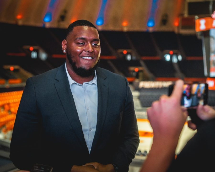 Vederian Lowe attends the NIL bill signing at State Farm Center on June 29. Lowe, along with all Illinois representatives at Big Ten Media Days, expressed their excitement for NIL legislation, which went into effect in Illinois on July 1.