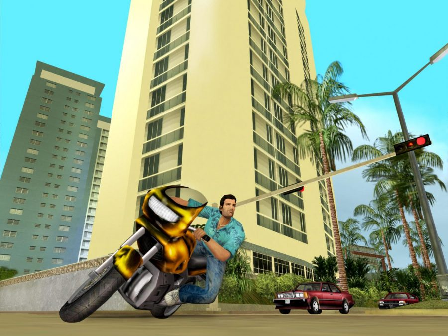 A screenshot from the video game Grand Theft Auto: Vice City is shown above. The game released on October 27, 2002.