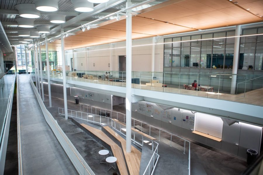 A view from inside the new Siebel Center as it opens for students to use. The Siebel Center lets many students, regardless of their major, innovate and create.