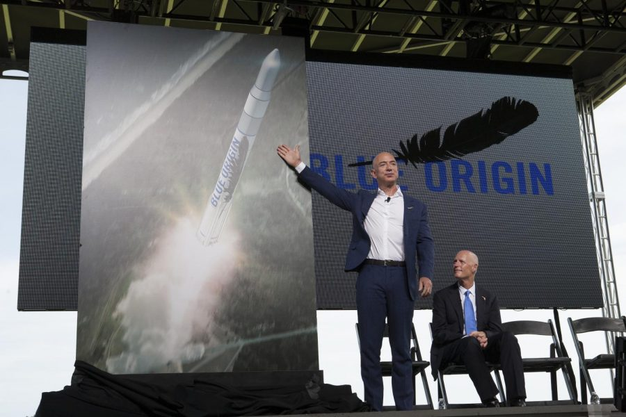 Jeff Bezos, founder and CEO of Blue Origin, speaks at Cape Canaveral Air Force Station in Florida. Jeffrey Bezos tells others that Blue Origin will build rockets at Exploration Park at NASA's Kennedy Space Center and launch them from SLC-36 at the Cape.