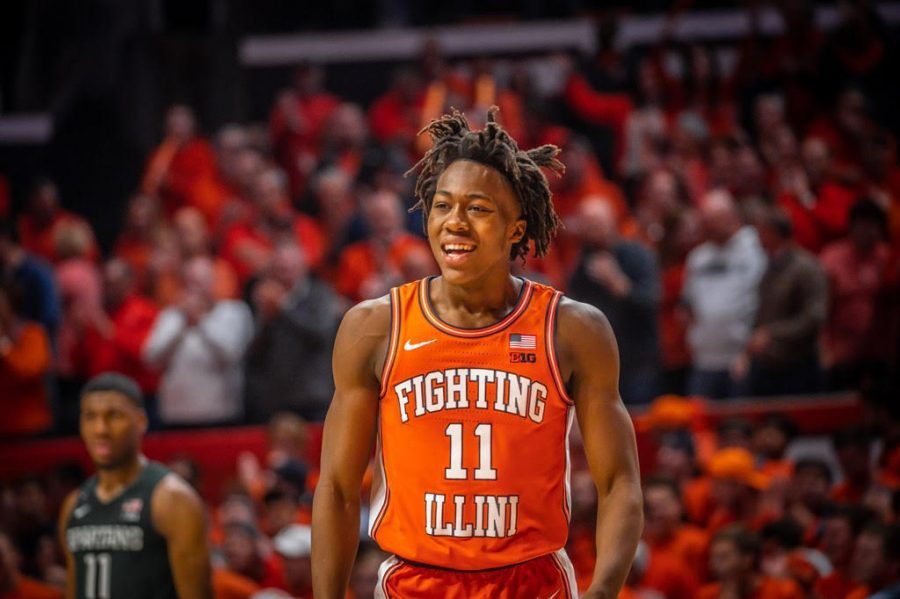 Former Illini basketball player Ayo Dosunmu celebrates against Michigan State in Feb. 19 2020 in Champaign, Illinois. Ayo Dosunmu will be playing for the Chicago Bulls this 2021-2022 season.