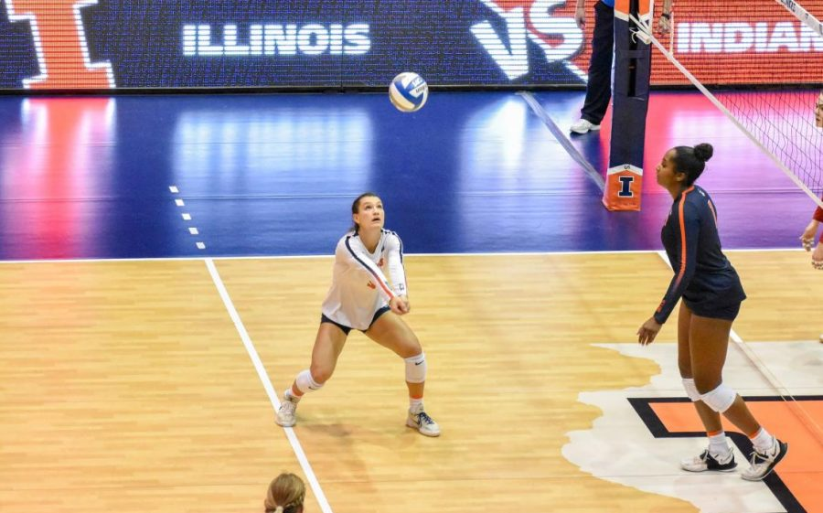 Taylor Kuper hits the ball during the match against Indiana on March 27. Super, who earned All-Big Ten First-Team honors last season, will be an important returner for the Illini in 2021 due to a lack of depth in her position.